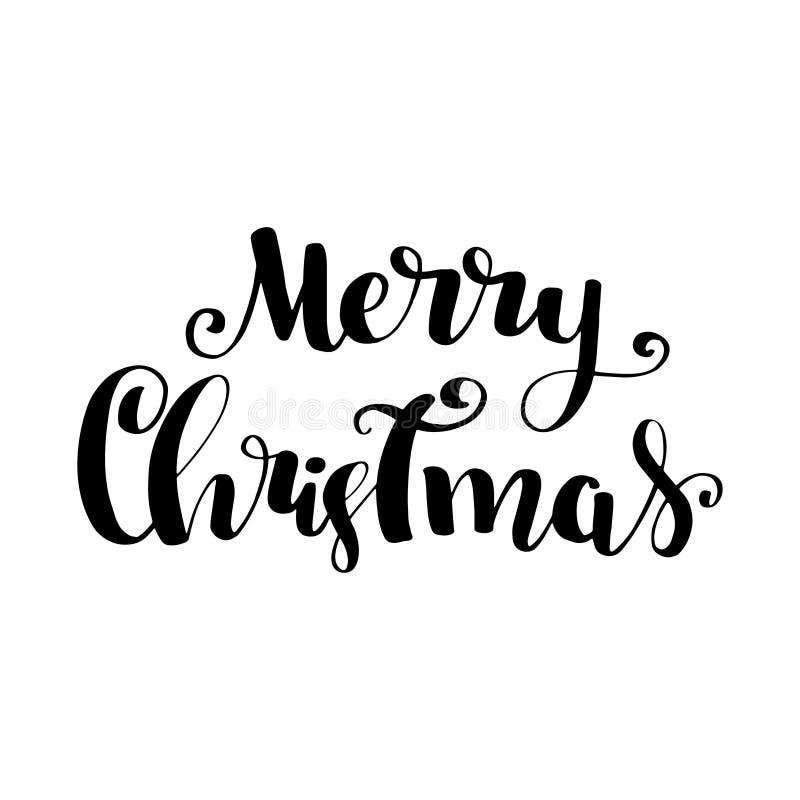 Het vrolijke malplaatje van de het ontwerpkaart van de Kerstmis vectortekst Kalligrafische Van letters voorziende Creatieve typog stock illustratie