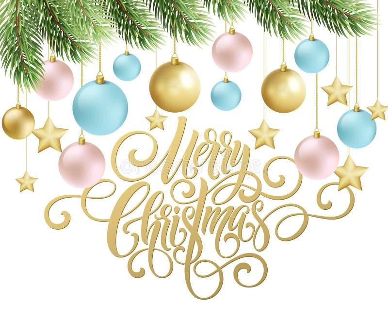 Het vrolijke het manuscript van het Kerstmishandschrift van letters voorzien Groetachtergrond met een Kerstboom en decoratie Vect stock illustratie