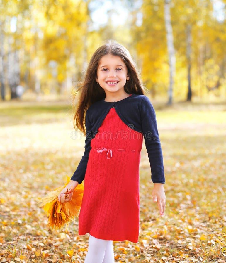 Het vrolijke meisjekind met gele esdoorn doorbladert in de herfst royalty-vrije stock afbeelding