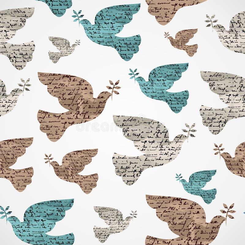 Het vrolijke naadloze patroon van de Kerstmis uitstekende duif grunge. royalty-vrije illustratie