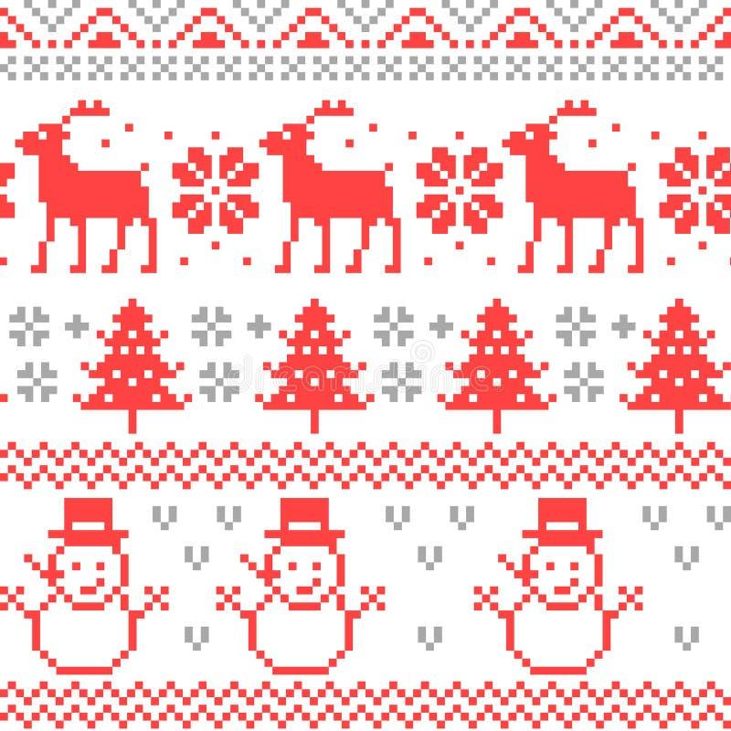 Het vrolijke Naadloze Patroon van het Kerstmis Traditionele Skandinavische Breiende Pixel stock illustratie