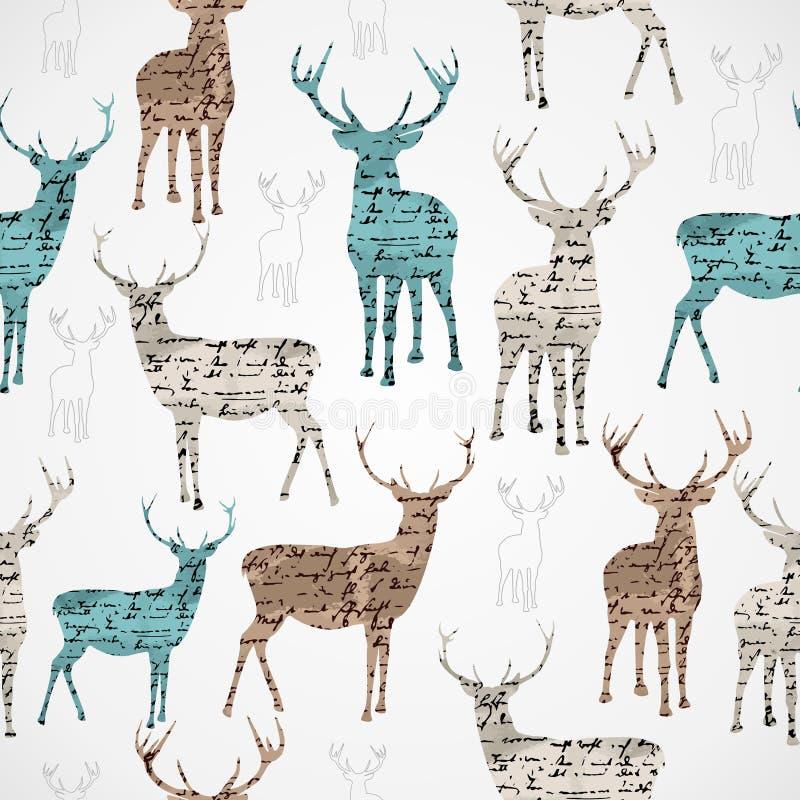 Het vrolijke naadloze patroon van het Kerstmis uitstekende rendier grunge. royalty-vrije illustratie