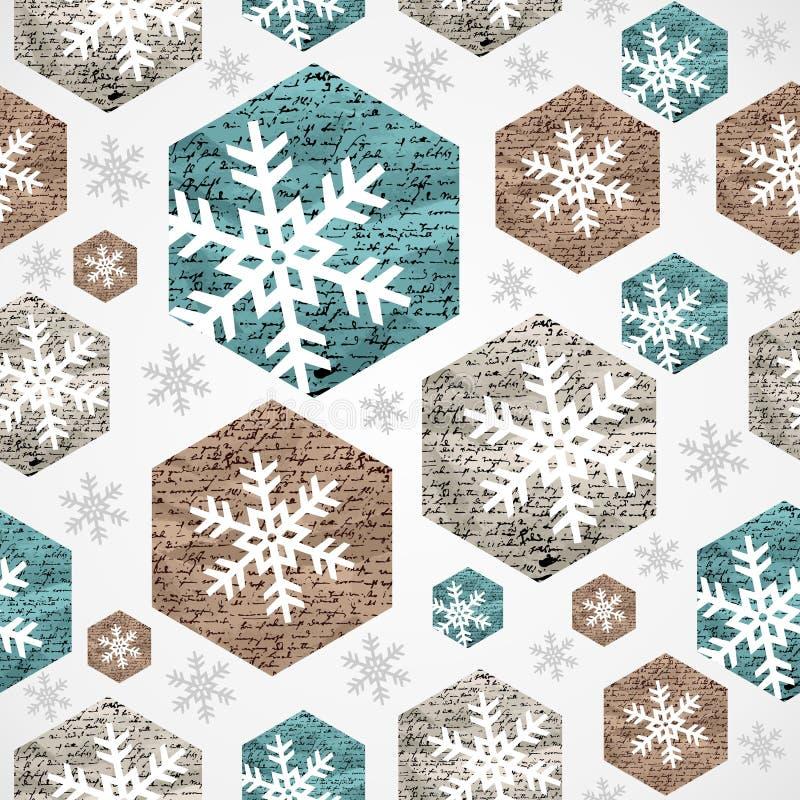 Het vrolijke naadloze patroon van Kerstmis uitstekende sneeuwvlokken grunge. vector illustratie