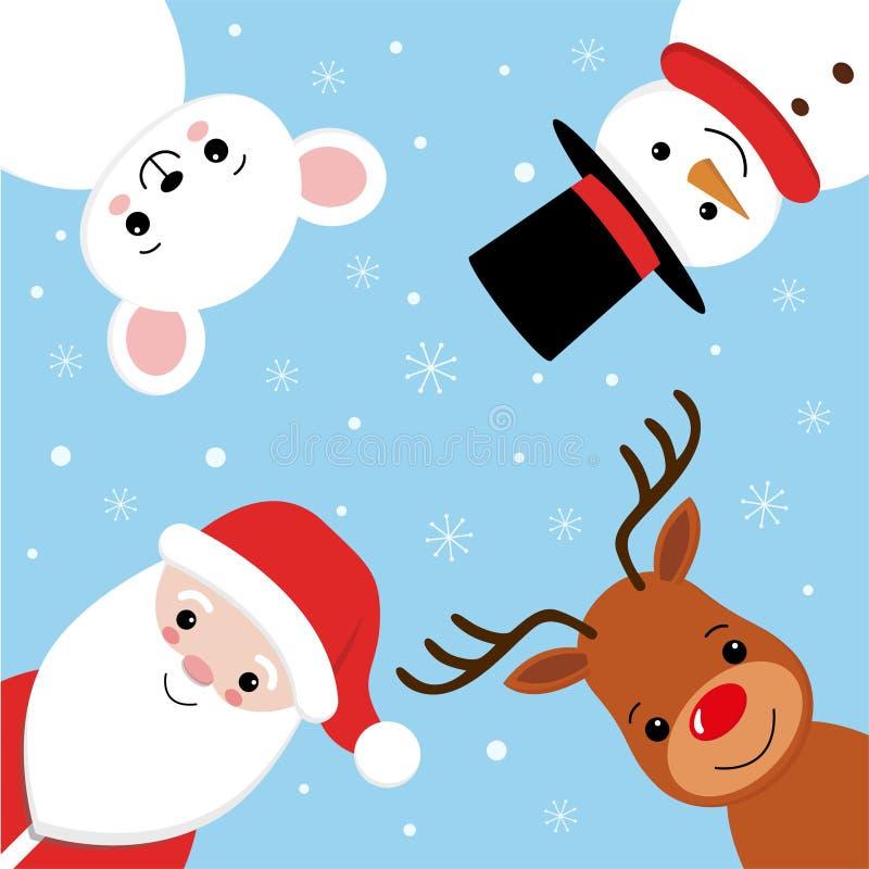 Het vrolijke ontwerp van de Kerstmis vectorbanner met Kerstmiskarakter zoals de Kerstman, rendier, muis en sneeuwman vector illustratie