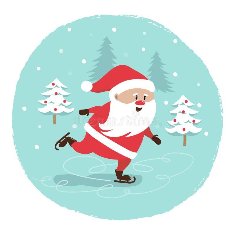 Het vrolijke ontwerp van de Kerstmiskaart Schaatsende Santa Claus royalty-vrije illustratie