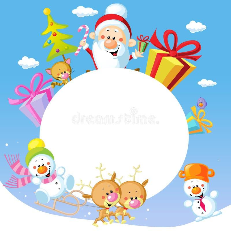 Het vrolijke ontwerp van het Kerstmiskader met Santa Claus Sleigh royalty-vrije illustratie