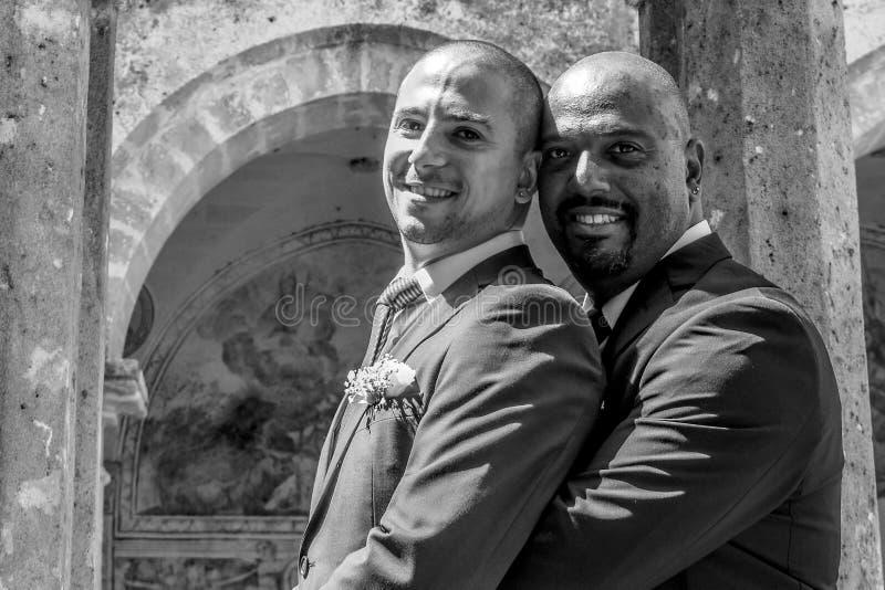 Het vrolijke paar die van LGBT gehuwd worden stock foto's