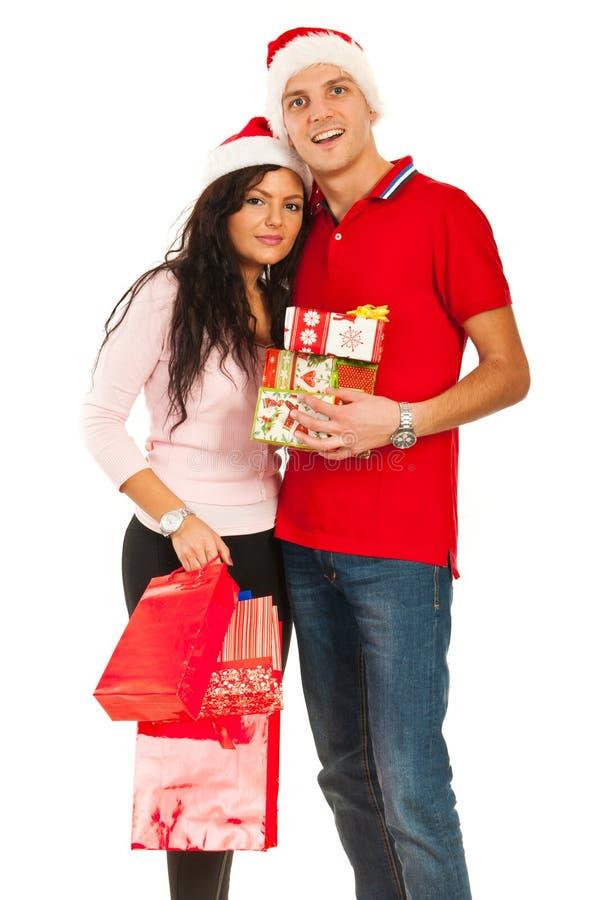 Het vrolijke paar van Kerstmis royalty-vrije stock afbeelding