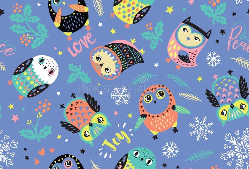 Het vrolijke patroon van Kerstmisuilen Leuke Vakantieachtergrond royalty-vrije illustratie
