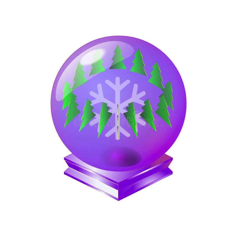 Het vrolijke purpere uitstekende gebied van het Kerstmis magische kristal met groene boom en ornament van lichte sneeuwvlok Voor  vector illustratie