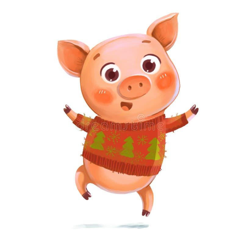 Het vrolijke springen Piggy Symbool van het Nieuwjaar vector illustratie