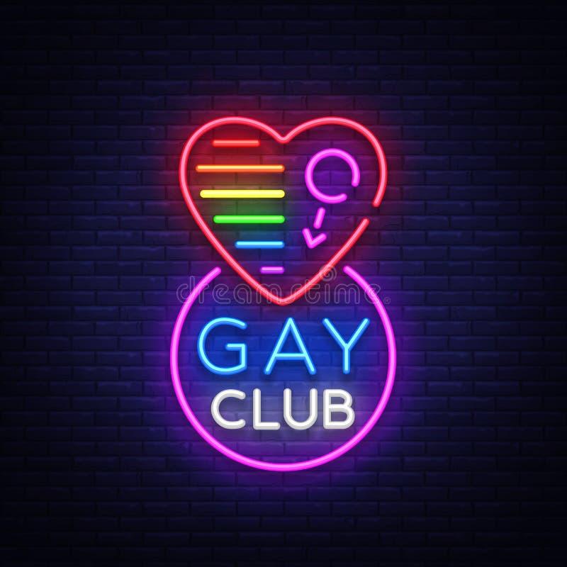 Het vrolijke teken van het clubneon Embleem in neonstijl, lichte banner, aanplakbord, nacht heldere reclame voor vrolijke club, l stock illustratie