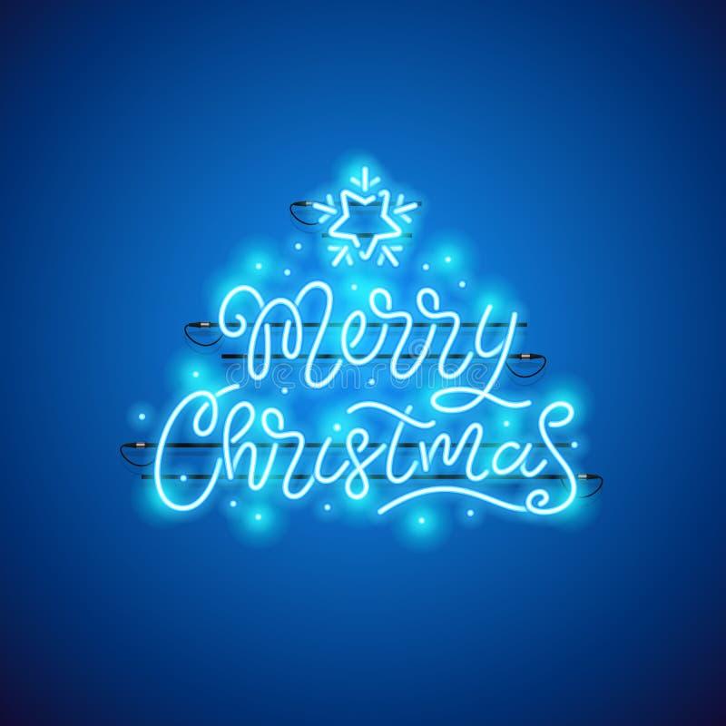 Het vrolijke Teken van het Kerstmis Blauwe Neon stock illustratie