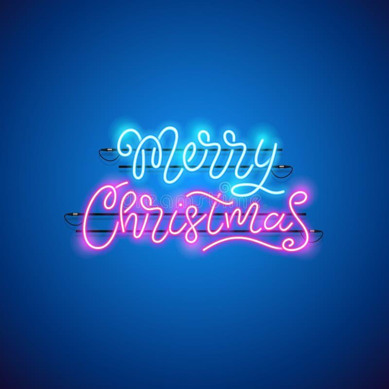 Het vrolijke Teken van het Kerstmis Blauwe Roze Neon stock illustratie