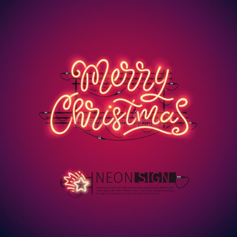 Het vrolijke Teken van het Kerstmis Rode Neon vector illustratie