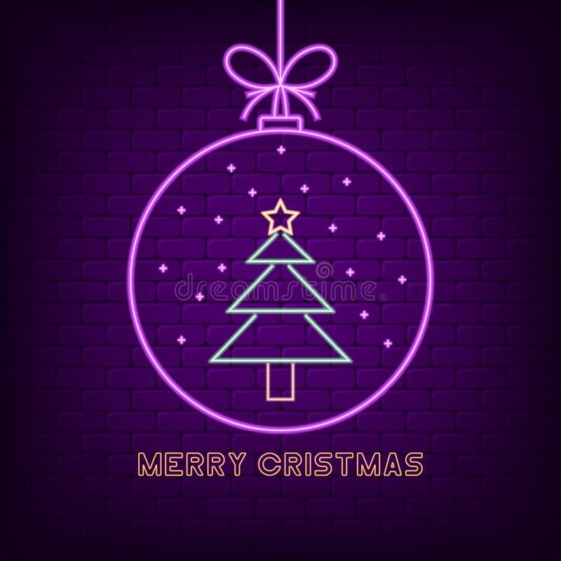 Het vrolijke teken van het Kerstmisneon Nieuwjaar holyday helder uithangbord met Kerstmisbal en Kerstmisboom Vector stock illustratie