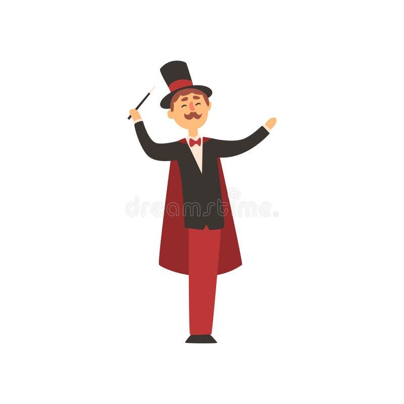 Het vrolijke toverstokje van de tovenaarholding Beeldverhaal mannelijk karakter in elegante smoking met rode kaap en cilinderhoed vector illustratie