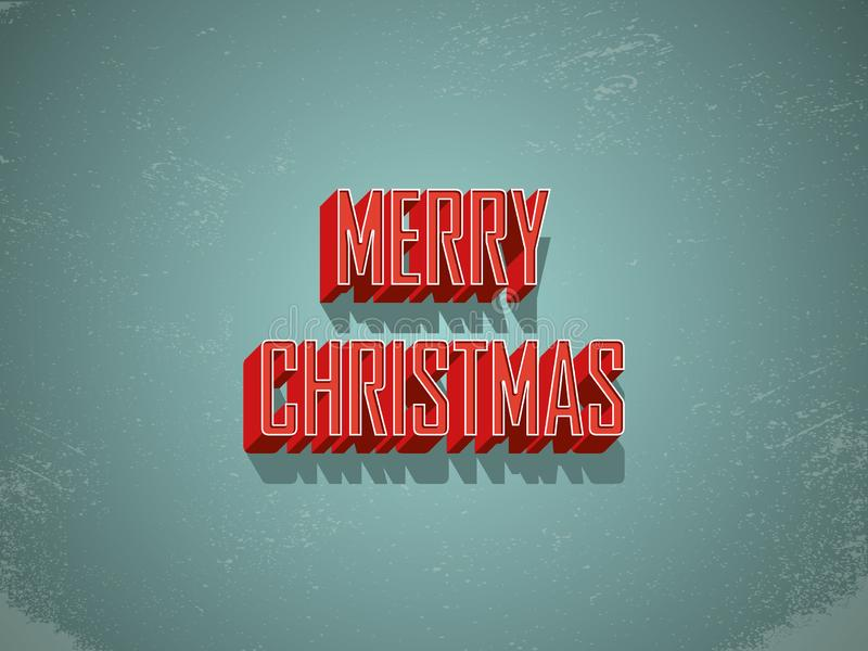 Het vrolijke vectormalplaatje van de Kerstmisprentbriefkaar met uitstekende retro stijlbrieven Grunge versleten achtergrond, uitg royalty-vrije illustratie