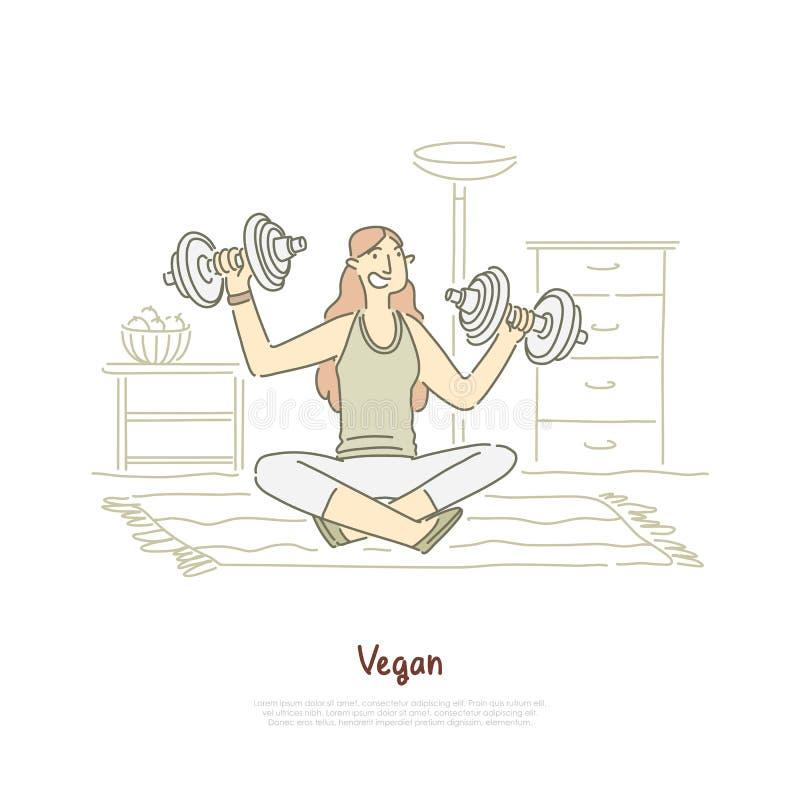 Het vrolijke vrouw uitwerken met domoren, geschiktheidsoefening, meisjeszitting in lotusbloem stelt, vegetarische levensstijlbann vector illustratie