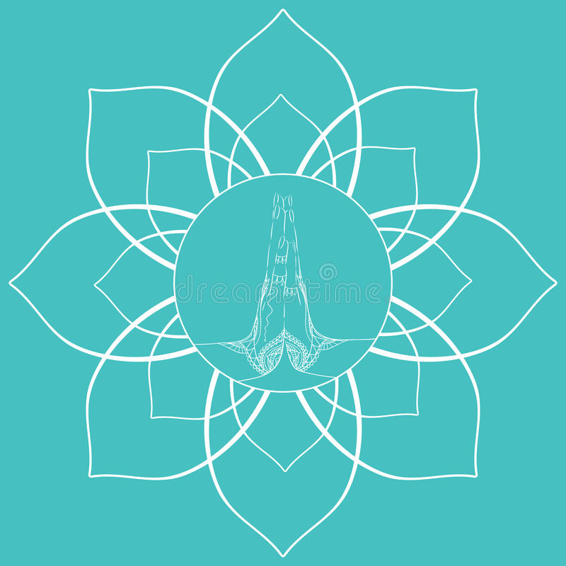 Het vrouwelijke bidden dient mehendi in de lotusbloembloem in vector illustratie
