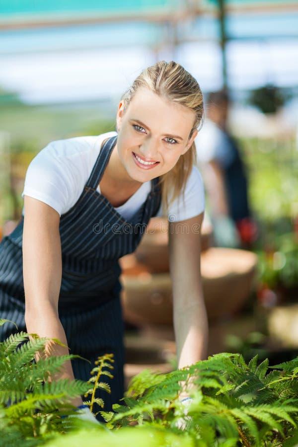 Het vrouwelijke bloemist werken stock foto's