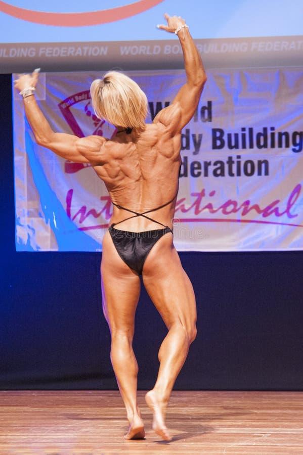 Het vrouwelijke cijfermodel buigt haar spieren en toont haar lichaamsbouw royalty-vrije stock afbeelding