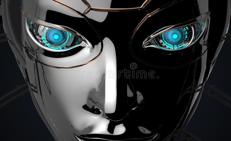 Het vrouwelijke Futuristische ontwerp van het Robotgezicht royalty-vrije stock foto's