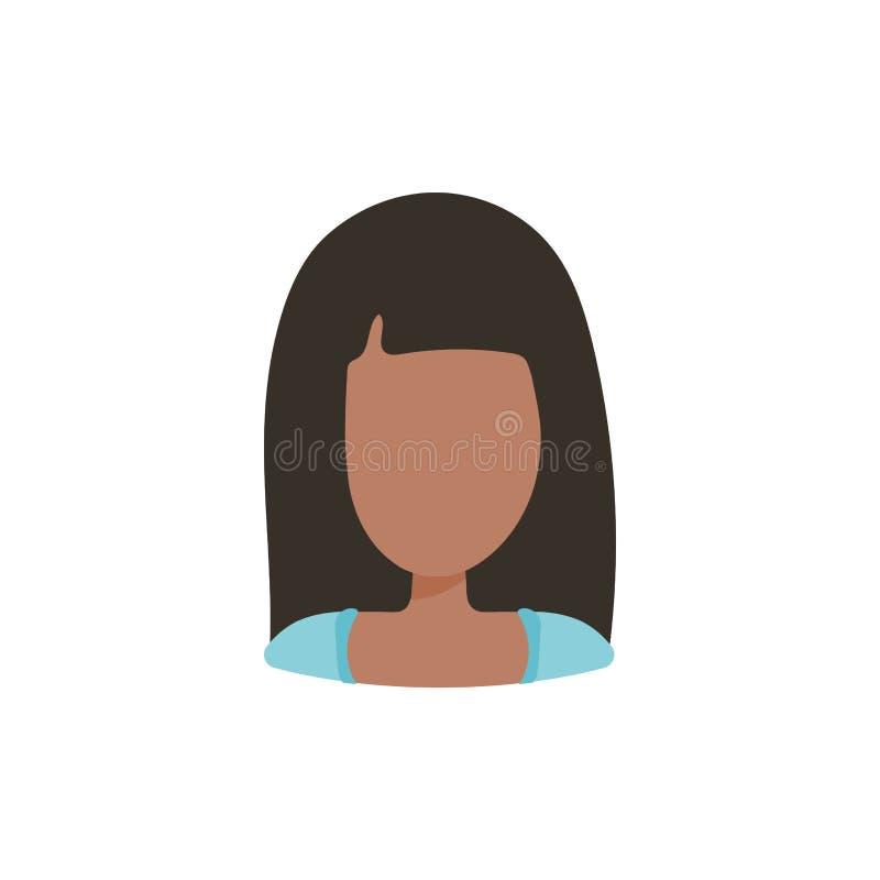 Het vrouwelijke gebruikersavatar pictogram van het profielbeeld Ge?soleerde vectorillustratie in het vlakke karakter van ontwerpm royalty-vrije illustratie