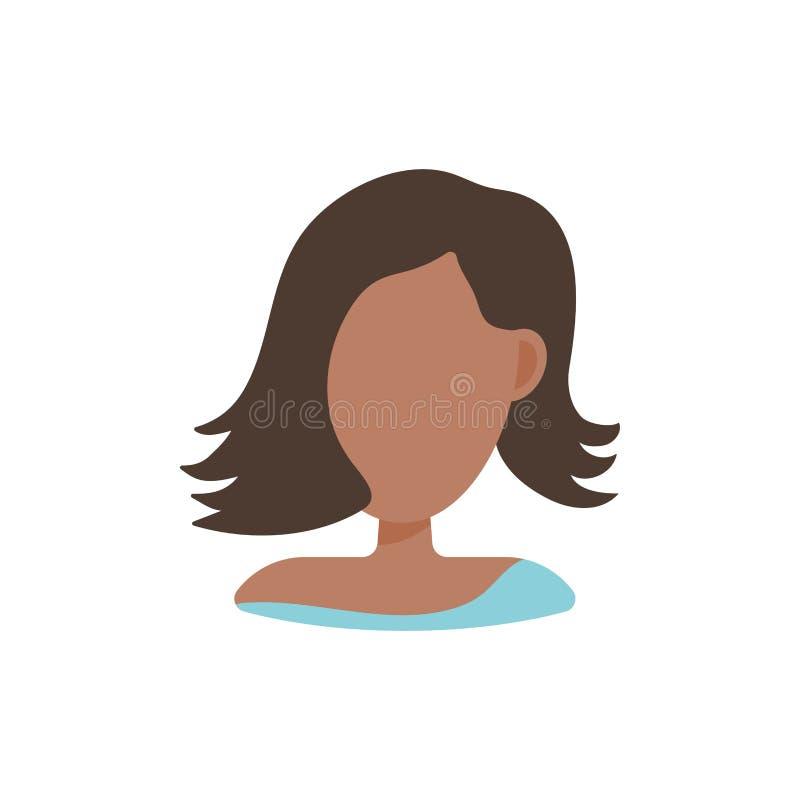 Het vrouwelijke gebruikersavatar pictogram van het profielbeeld Ge?soleerde vectorillustratie in het vlakke karakter van ontwerpm vector illustratie