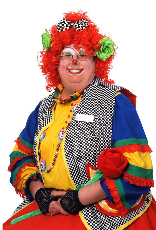 Het vrouwelijke Glimlachen van de Clown stock foto's
