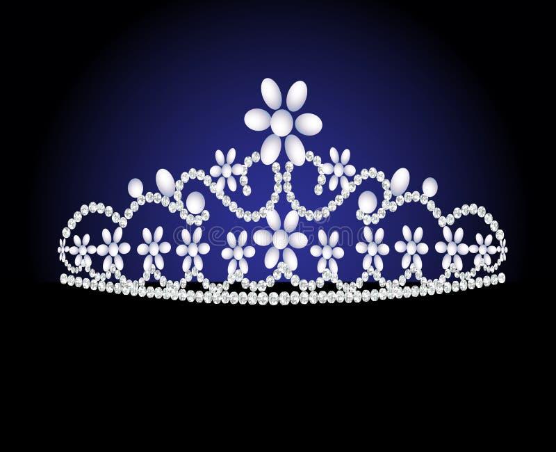 Het vrouwelijke huwelijk van het diadeem met parel royalty-vrije illustratie