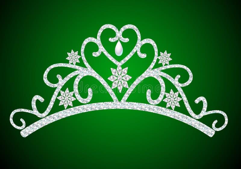Het vrouwelijke huwelijk van het diadeem met parel op groen stock illustratie