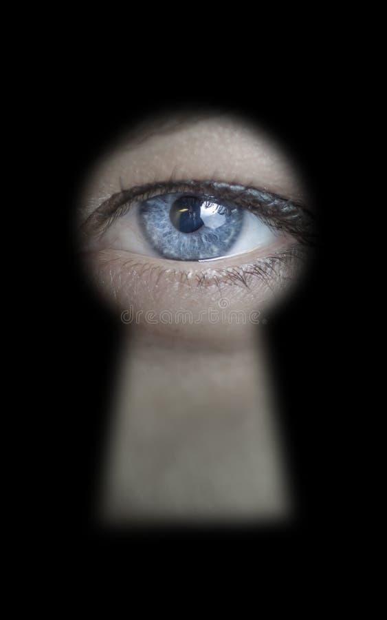Het vrouwelijke oog gluren stock fotografie