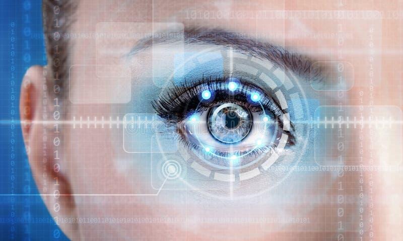 Het vrouwelijke oog van het technologieaftasten voor veiligheid of identificatie stock illustratie