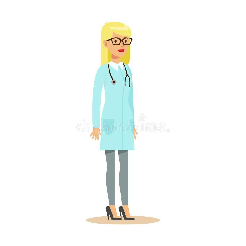 Het vrouwelijke Therapeut Eenvormige Werken van Artsenwearing medical scrubs in het het Ziekenhuisdeel van Reeks Gezondheidszorgs royalty-vrije illustratie