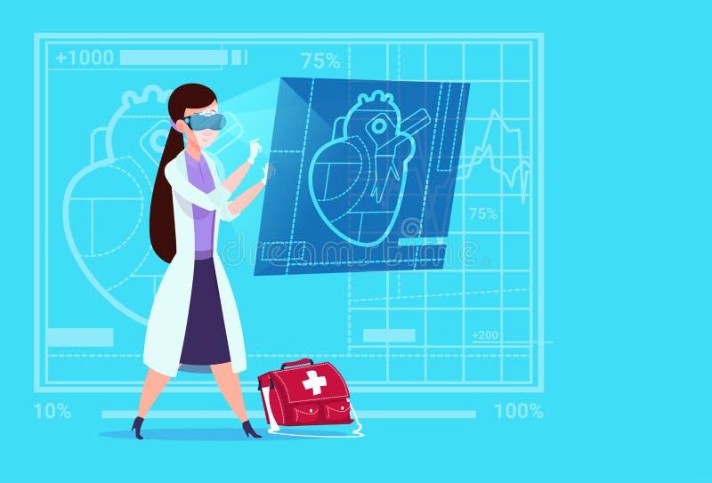 Het vrouwelijke van de de Slijtage Virtuele Werkelijkheid van Examining Digital Heart van de Artsencardioloog van de Glazen Medis royalty-vrije illustratie