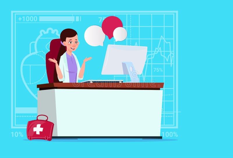 Het vrouwelijke van het Overleg Medische Klinieken van Artsensitting at computer Online de Arbeidersziekenhuis royalty-vrije illustratie