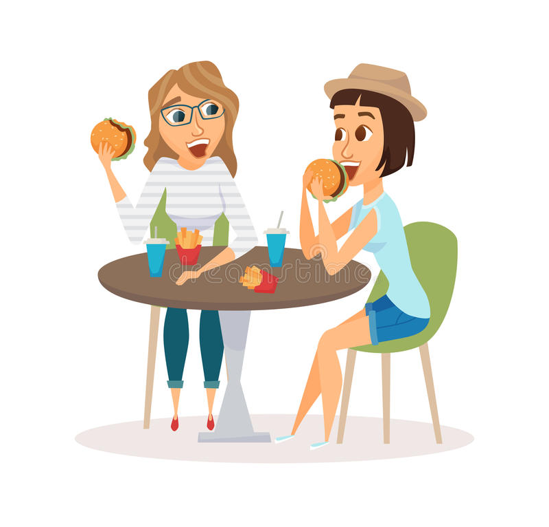 Het vrouwelijke vrienden eten vector illustratie