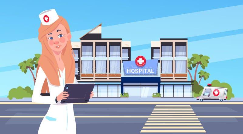 Het vrouwelijke Ziekenhuis die van Artsenstanding over modern Buiten Achtergrond Medisch Kliniekconcept bouwen vector illustratie
