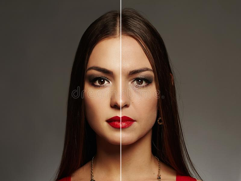 Het vrouwengezicht retoucheert vóór en na Huidprobleem royalty-vrije stock afbeeldingen
