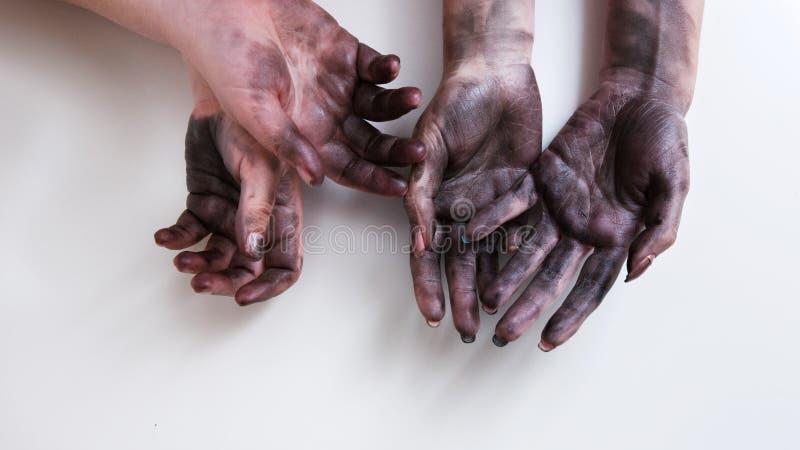 Het vuile feminisme van de de baanemancipatie van de handen harde vrouw stock fotografie