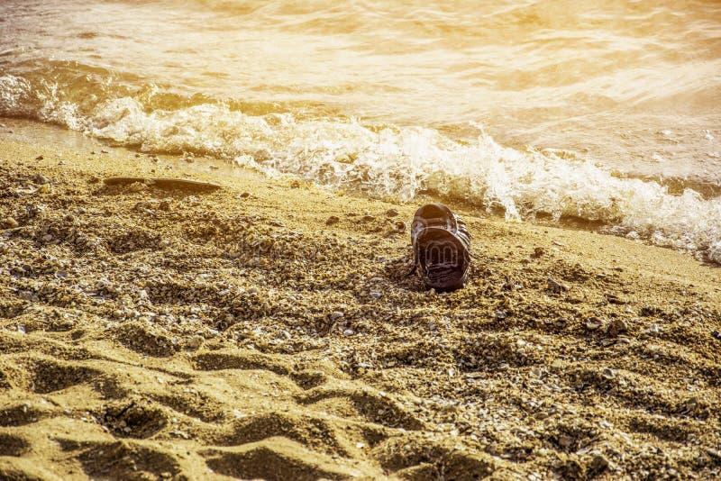 Het vuile plastic afval op strandenvlotter langs de golven, mariene verontreiniging schadelijk voor mensen en waterdieren, degrad stock fotografie