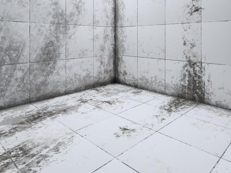 Het vuile witte de hoek van de tegelvloer 3D teruggeven stock foto's