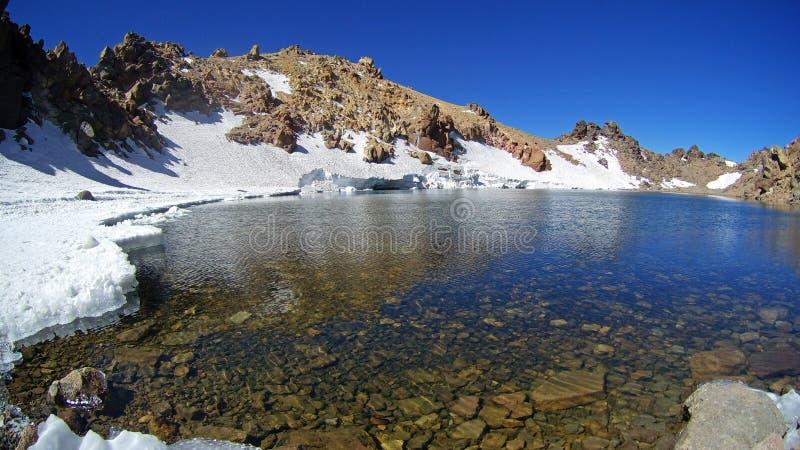 Het vulkaanmeer bovenop de berg Sabalan Iran stock foto