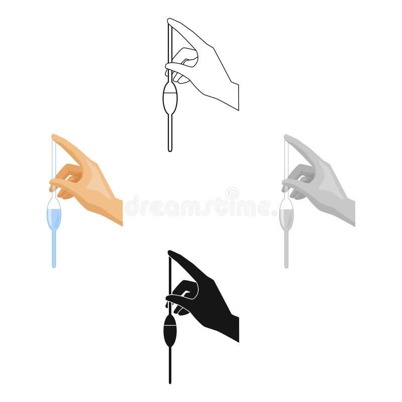 Het vullen van een bolpipet door waterpictogram in beeldverhaal, zwarte die stijl op witte achtergrond wordt geïsoleerd Het syste royalty-vrije illustratie