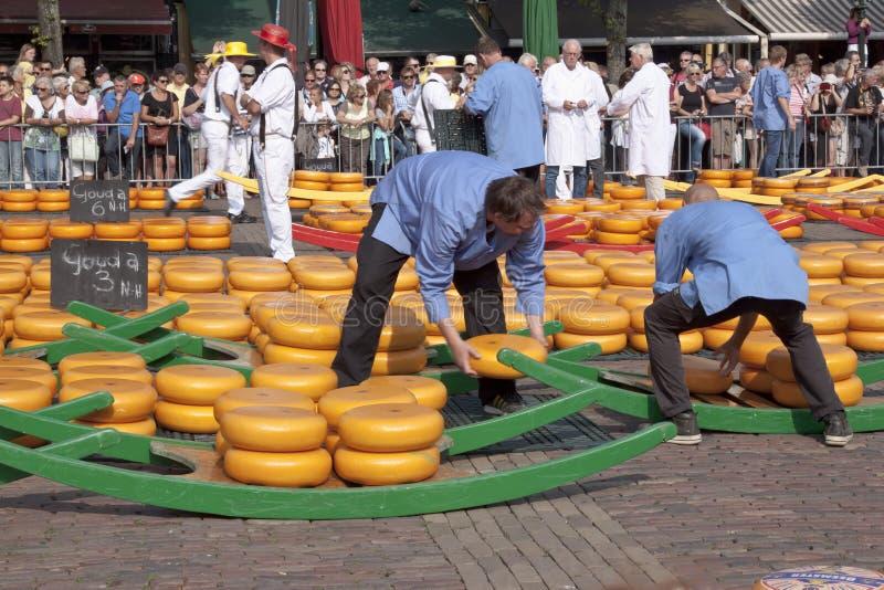 Het vullen van kruiwagens bij kaasmarkt in Alkmaar, Holla stock foto's