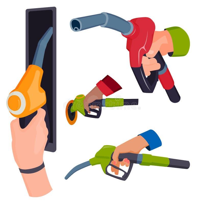 Het vullen van het pistool van de benzinepost in mensen overhandigt hulpmiddel van de de tankdienst van de raffinaderij het bijta royalty-vrije illustratie