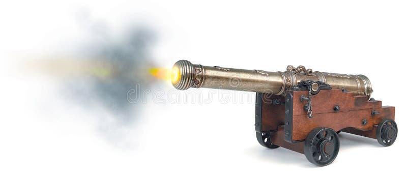 Het vuren van de canon stock fotografie