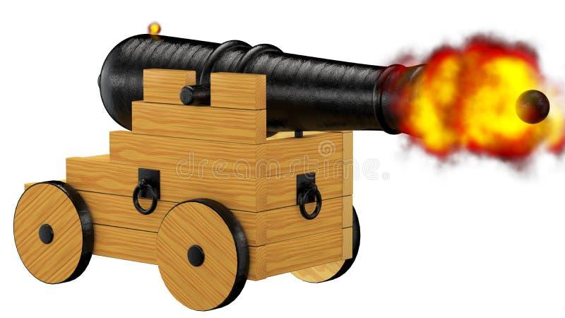 Het vuren van het piraatkanon royalty-vrije illustratie