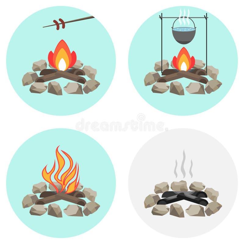 Het vuur, een pot op de brand, braadt de worst bij de staak, as, steenkolen, brandhout royalty-vrije illustratie